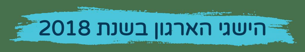כותרת גדולה בה כתוב הישגי הארגון בשנת 2018