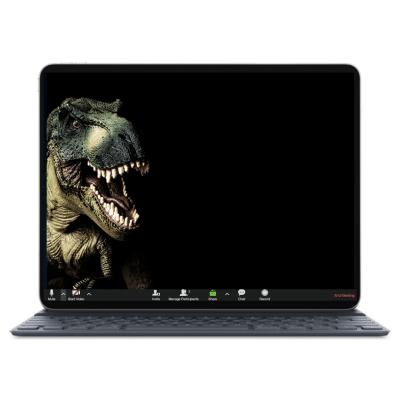 לפטופ עם רקע שחור על המסך ועליו ראש של דינוזאור ריאלי עם פה פתוח ומאיים, שיניים חשופות. רקע מגניב לתוכנת זום כחלק מחבילת רקעים מעוצבים למכירה לילדים ונוער
