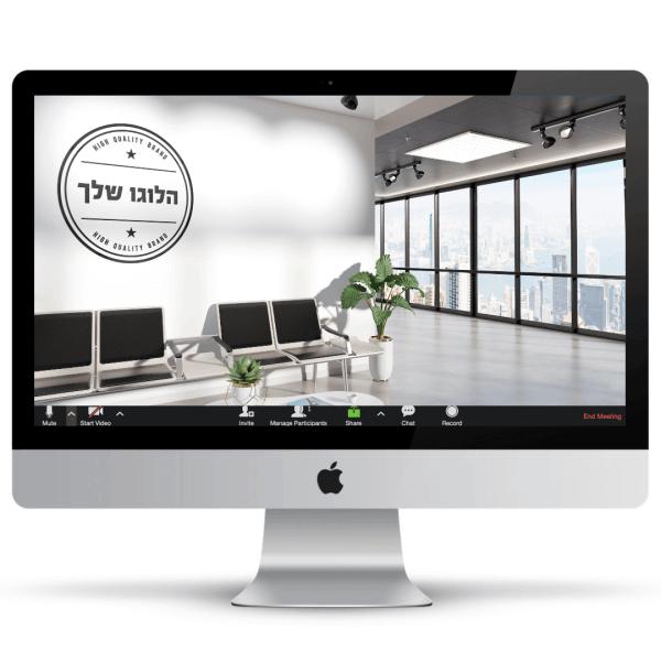 משרד גדול ומואר עם חלונות גדולים ולוגו על הקיר - חהילת רקעים ממותגים לעסקים