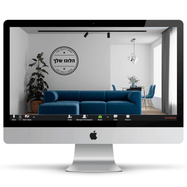 משרד ביתי עם ספות כחולות, עציץ ירוק ויפה ולוגו על הקיר - חהילת רקעים ממותגים לעסקים
