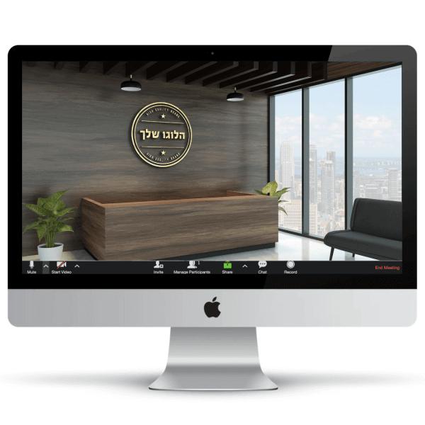 הדמיית חדר קבלה של פירמה עסקית - דלפק עץ ומאחוריו לוגו בהבלטה מוזהבת, ספת המתנה קלאסית שחורה, עציצים ורצפה מבריקה - חהילת רקעים ממותגים לעסקים
