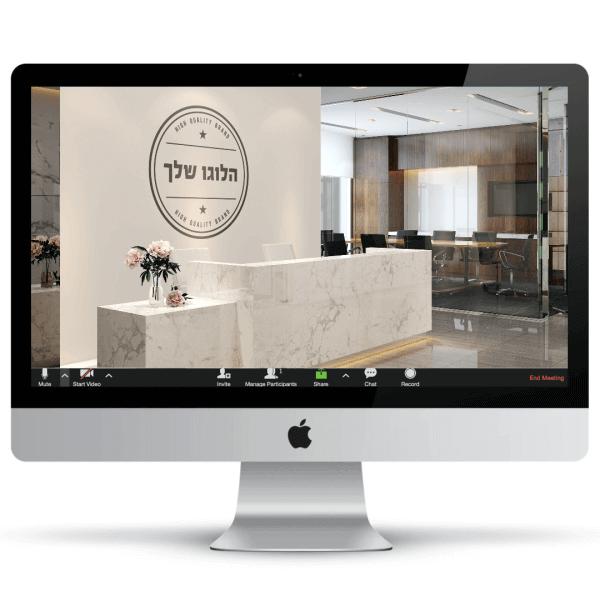 מבואת קבלה של קומת משרדים עם שולחן קבלה עם ציפוי דמוי שיש, לוגו גדול על הקיר וברקע חדר ישיבות מסוגנן - חהילת רקעים ממותגים לעסקים
